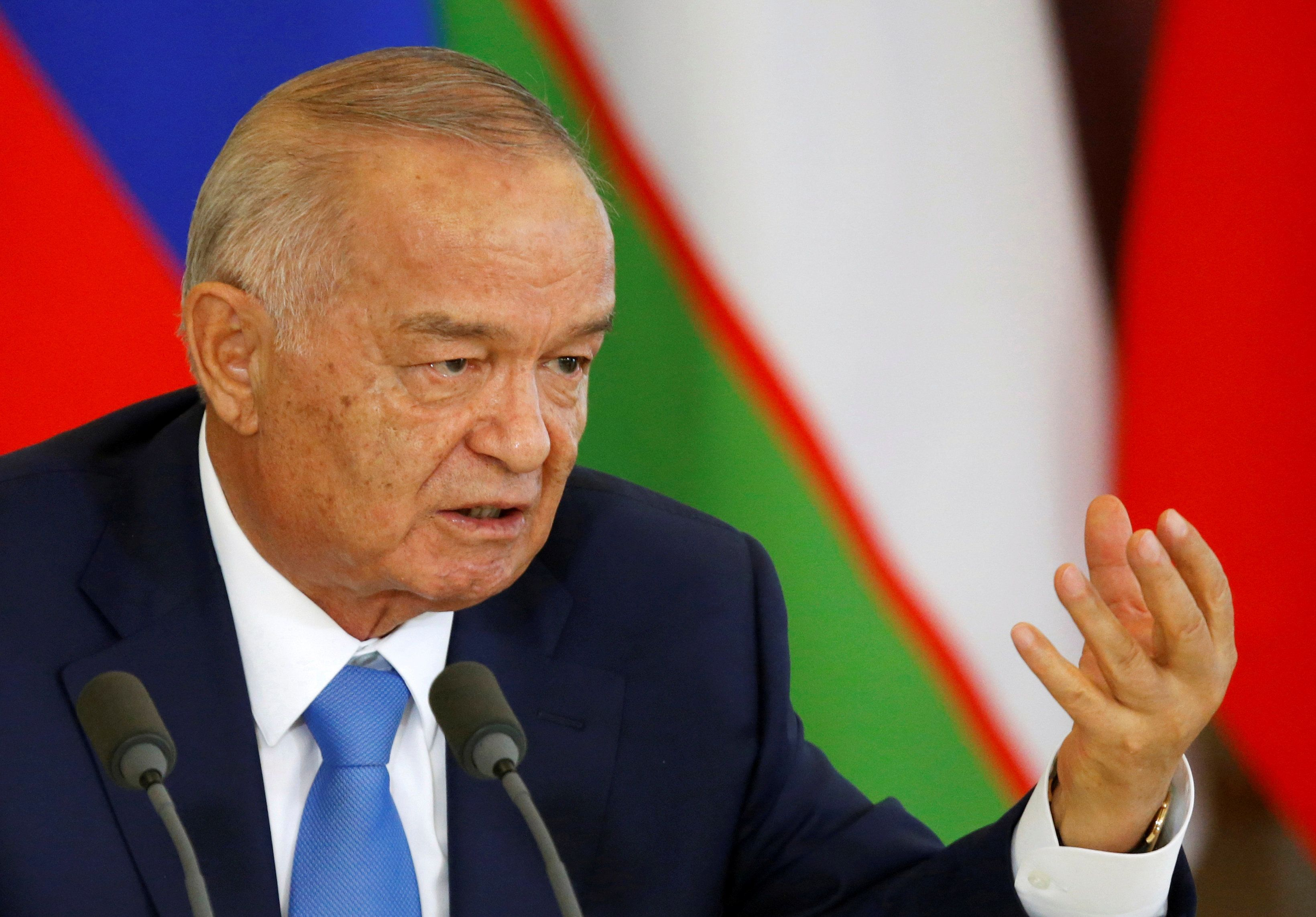 FILE PHOTO - Uzbek President Islam Karimov speaks during a joint news conference at the Kremlin in Moscow, Russia, April 26, 2016. REUTERS/Maxim Shemetov/File Photo