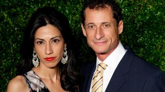Huma Abedin and Anthony Weiner attend 'The Twelfth Annual CFDA/Vogue Fashion Fund Awards' at Spring Studios in New York City. �� LAN (Photo by Lars Niki/Corbis via Getty Images)