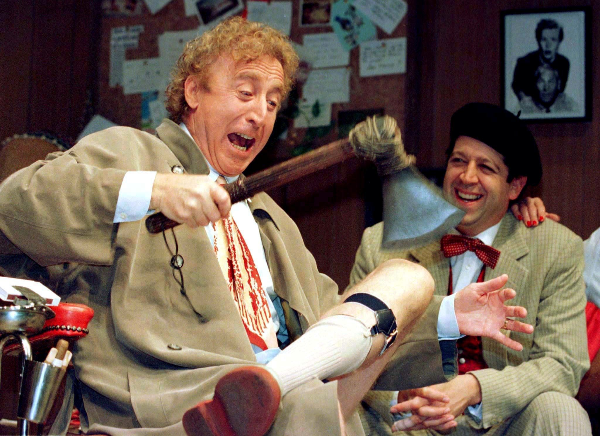 "Gene Wilder performs during the rehearsal of a scene from Neil Simon's ""Laughter on the 23rd Floor"" in New York in 1996."