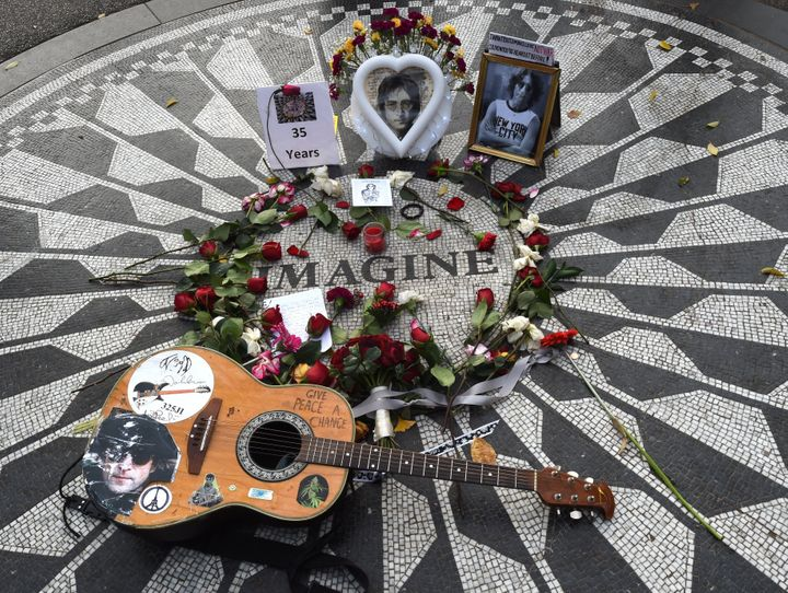 Strawberry Fields, the late Beatle's memorial in New York City's Central Park, is seen here last December during the 35th ann