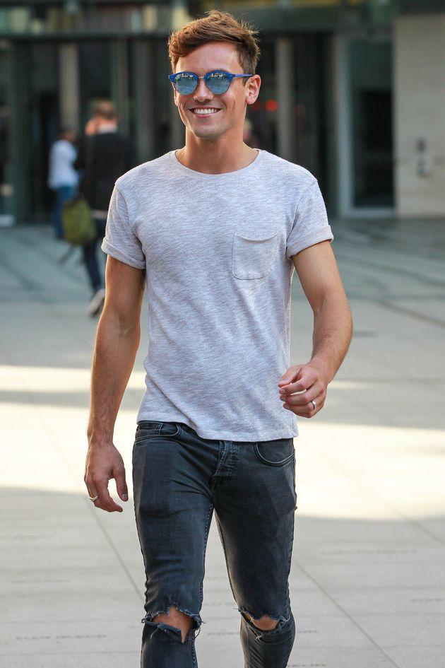 Tom arriving at the BBC Radio 1