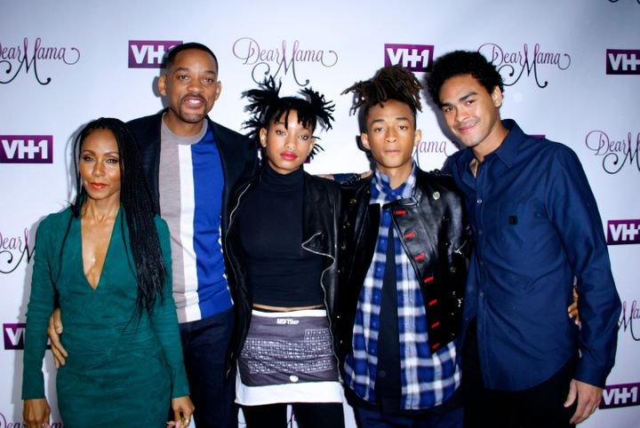 Jada Pinkett Smith, Will Smith, Willow Smith, Jaden Smith and Trey Smith attend the VH1 'Dear Mama' taping on May 3, 201