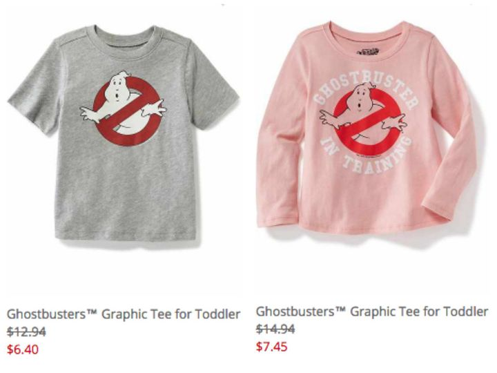 "Old Navy sells different ""Ghostbusters"" designs for boys and girls."