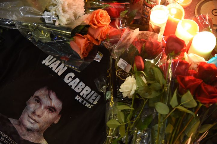 Fans mourned Juan Gabriel with flowers at the Hollywood Walk of Fame on Monday.