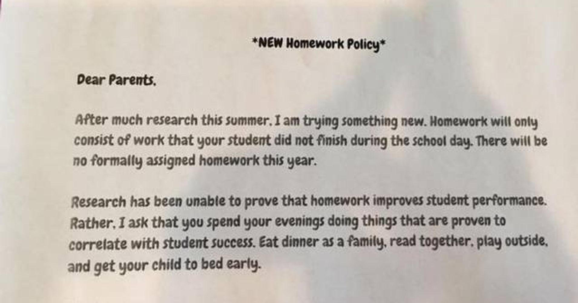 Why I Did it: The 'No Homework' Letter   HuffPost