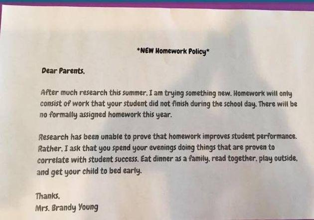 Benefits of no homework