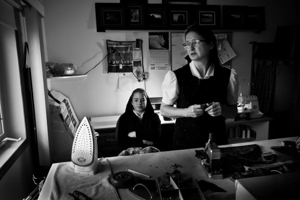 My Mom (Rachel) and sister (SaraAnn) in the sewing room.
