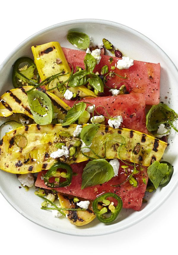 Get creative with this watermelon salad sprinkled with jalape&ntilde;o, goat cheese and basil leaves. <br><br><strong>Get the
