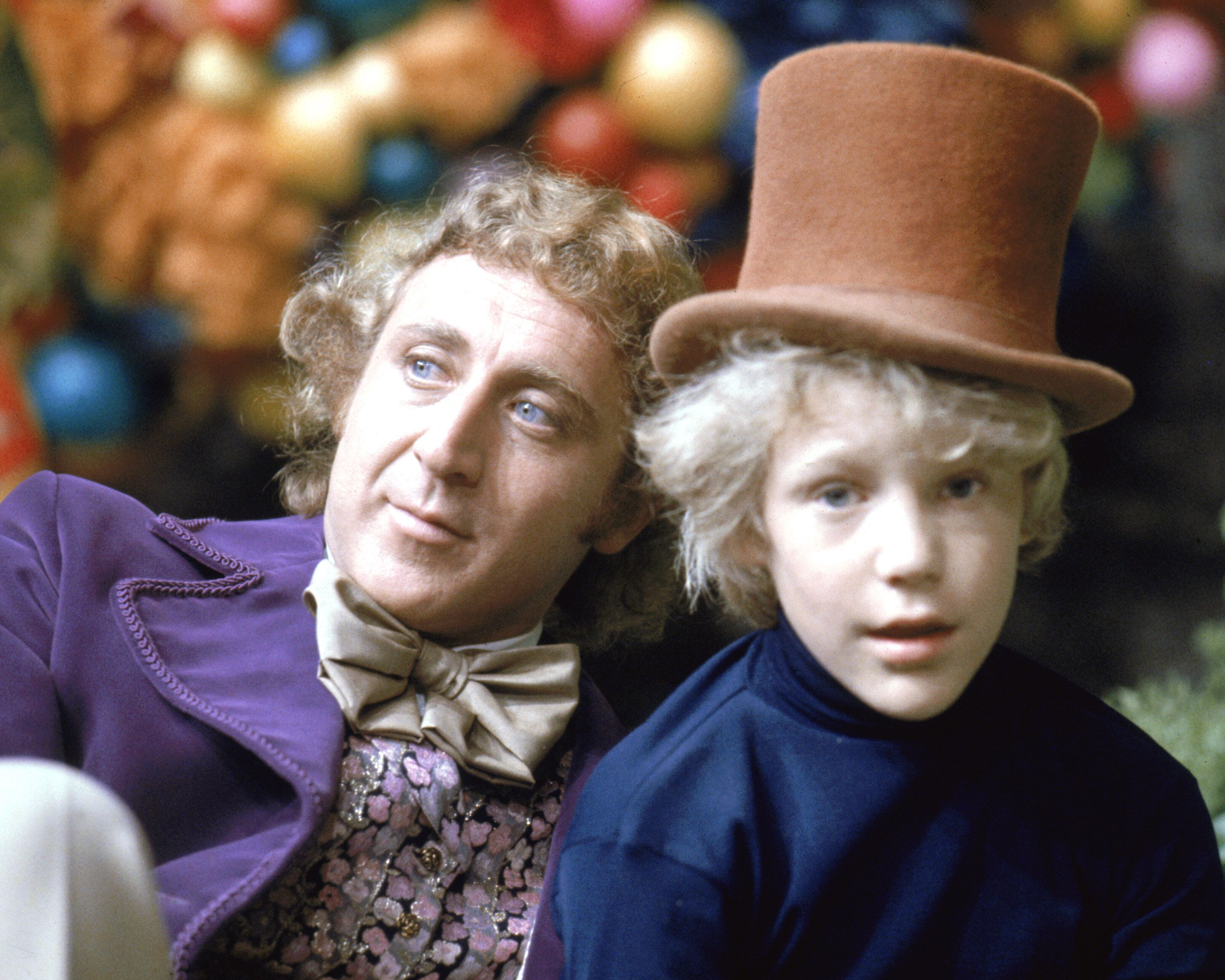 """Gene Wilder as Willy Wonka and Peter Ostrum as Charlie Bucket on the set of the film """"Willy Wonka & the Chocolate Factory"""