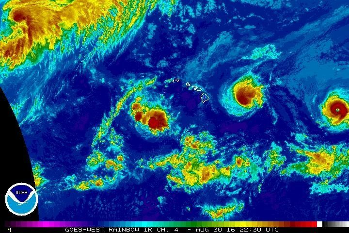 Hurricanes Madeline (left) and Lester (right) approach Hawaii's Big Island.