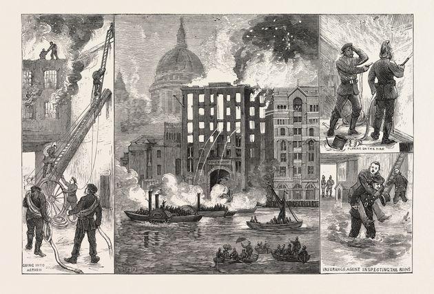 The destruction of Brooks's Wharf, Upper Thames