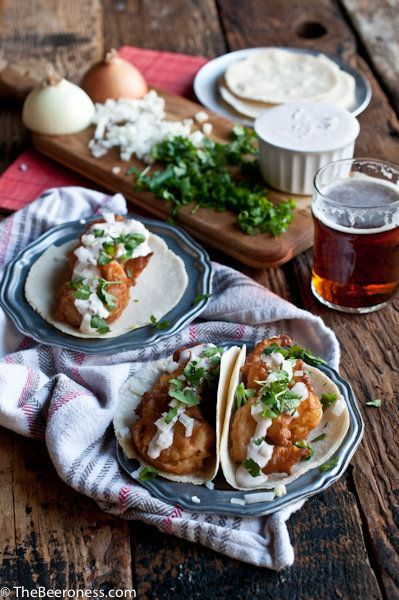 """<strong>Get the <a href=""""http://thebeeroness.com/2014/03/21/beer-battered-shrimp-tacos-chipotle-lime-crema/"""" target=""""_blank"""">"""
