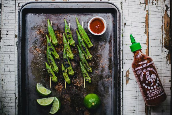 """<strong>Get the <a href=""""http://food52.com/recipes/22851-grilled-okra-with-sriracha-lime-salt"""" target=""""_blank"""">Grilled Okra w"""
