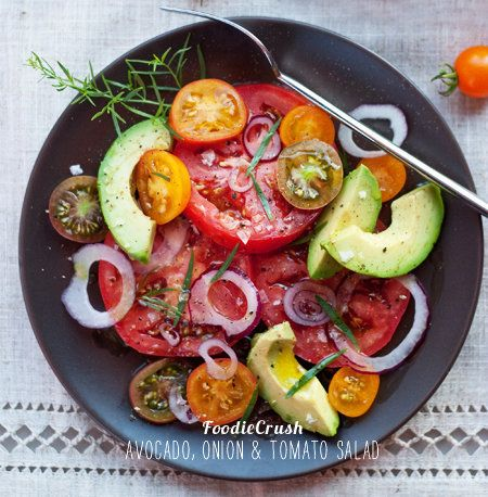 """<strong>Get the <a href=""""http://www.foodiecrush.com/2011/08/craving-5-fresh-and-simple-avocado-salads/"""" target=""""_blank"""">Avoca"""