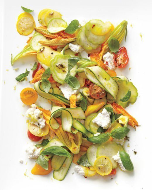 """<strong>Get the <a href=""""http://www.marthastewart.com/901401/shaved-squash-salad-tomatoes-zucchini-blossoms-ricotta-and-thyme"""