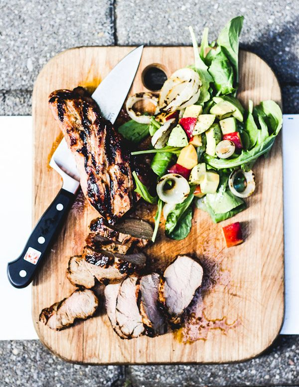 """<strong>Get the <a href=""""http://www.theclevercarrot.com/2014/07/grilled-pork-tenderloin-with-wilted-greens-sweet-onions-peach"""