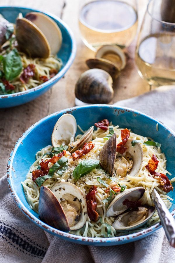 """<strong>Get the <a href=""""http://www.halfbakedharvest.com/fresh-clam-pasta-creamy-white-basil-sauce-crispy-prosciutto/"""" target"""