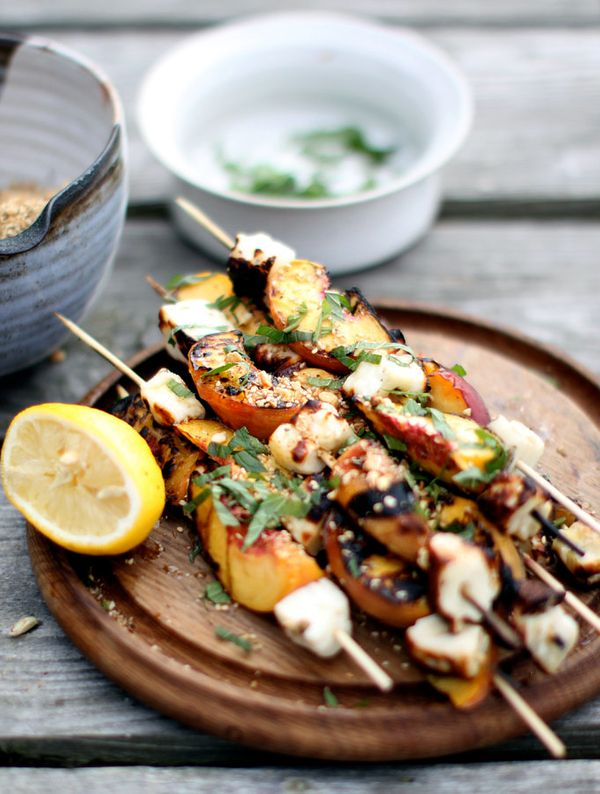 """<strong>Get the <a href=""""http://www.mynewroots.org/site/2012/08/grilled-halloumi-and-peaches-with-dukkah/"""" target=""""_blank"""">Gr"""