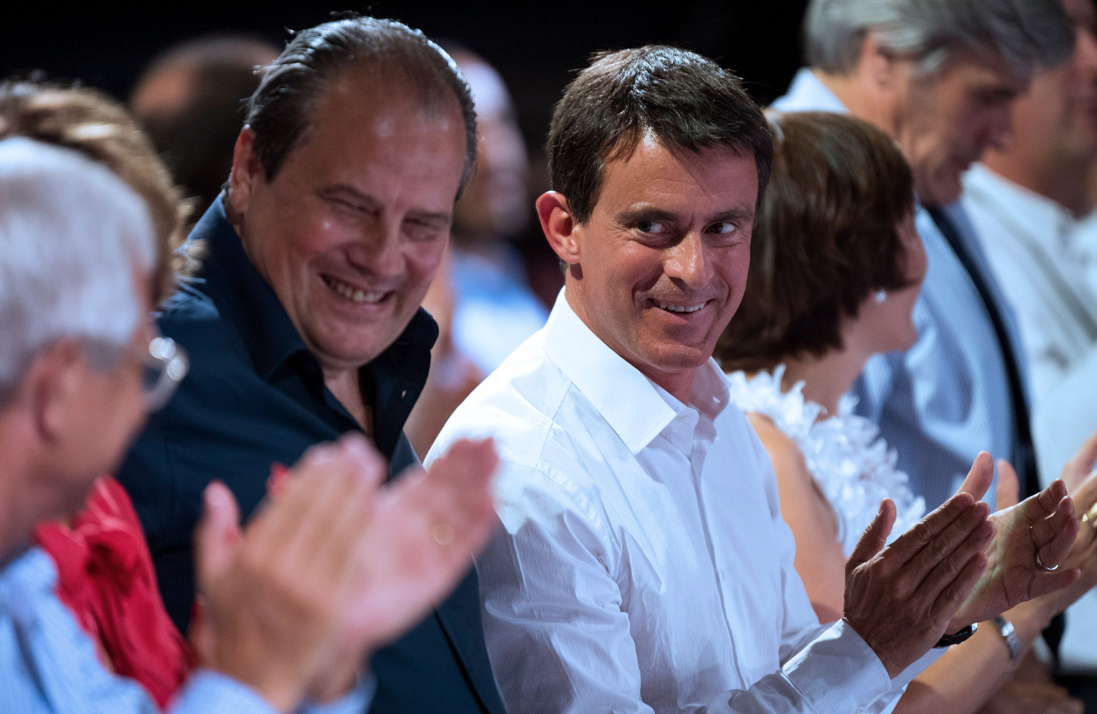 French Socialist Party members including Prime Minister Manuel Valls (R) and Socialist Party secretary Jean-Christophe Cambadelis attend a meeting in Colomiers near Toulouse, France, August 29, 2016. REUTERS/Fred Lancelot