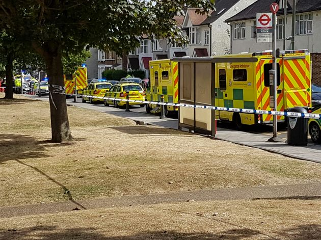 Ambulances lined the street in the aftermath of the