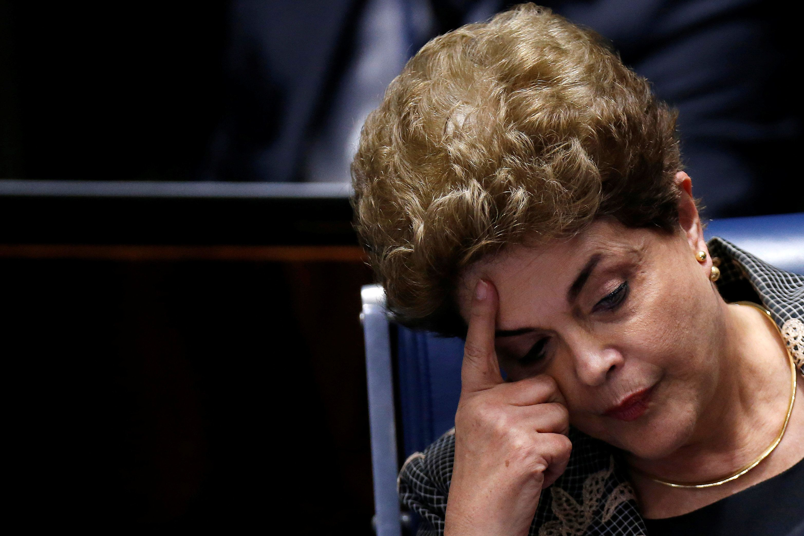 Brazil's suspended President Dilma Rousseff attends the final session of debate and voting on Rousseff's...
