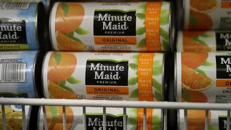 SAN RAFAEL, CA - AUGUST 30:  Minute Maid frozen orange juice is displayed in a freezer at a grocery store on August 30, 2016 in San Rafael, California. Demand for frozen concentrated orange juice has declined to an all-time low as smoothies and energy drinks become more popular with consumers.   (Photo by Justin Sullivan/Getty Images)