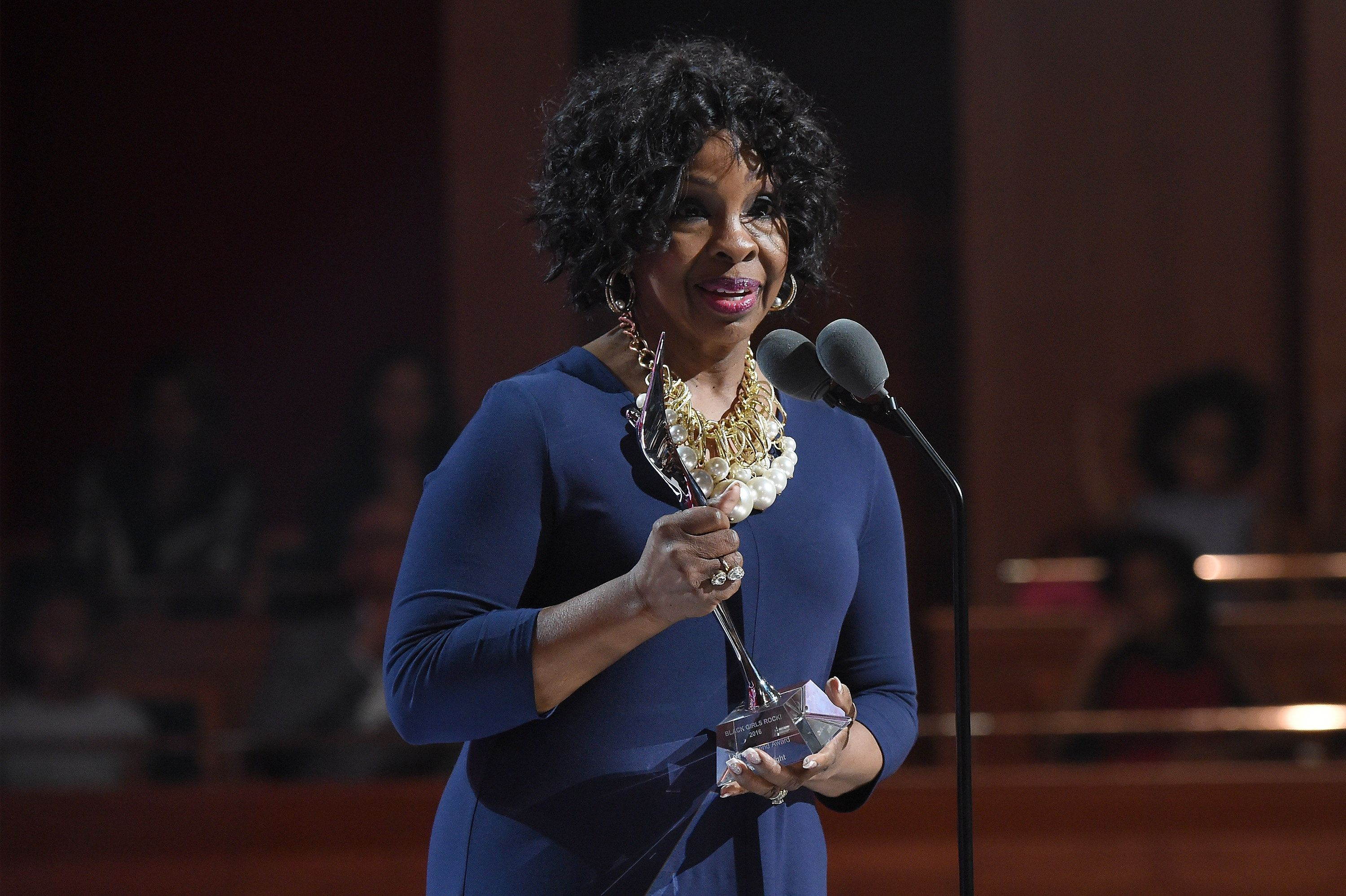 NEWARK, NEW JERSEY - APRIL 01:  Gladys Knight speaks onstage during Black Girls Rock! 2016 on April 1, 2016 in Newark City.  (Photo by Nicholas Hunt/BET/Getty Images for BET)
