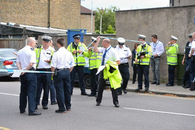 Police at the scene in Lennard Road, Penge in in south-east