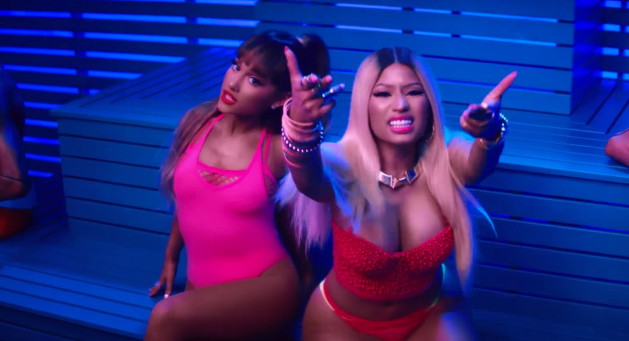 "Ariana Grande and Nicki Minaj in the video for ""Side to Side."""