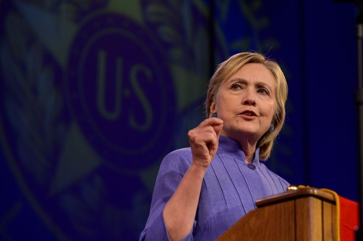 Democratic presidential nominee Hillary Clinton addresses the National Convention of the American Legion in Cincinnati, Ohio,