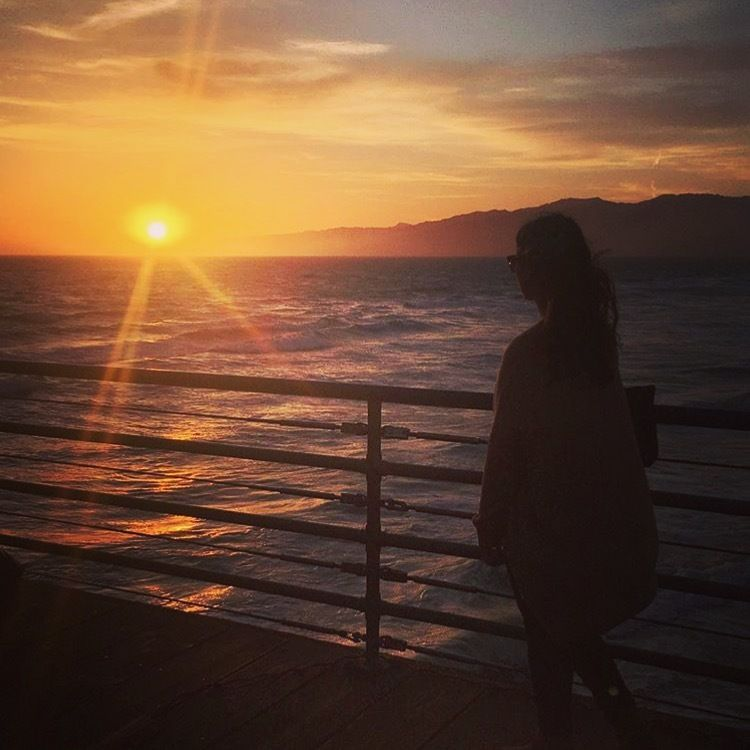 Watching the sunset on the Santa Monica pier