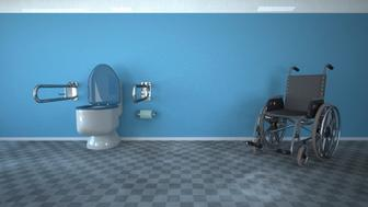 3D Rendering, Disabled toilet with wheel chair