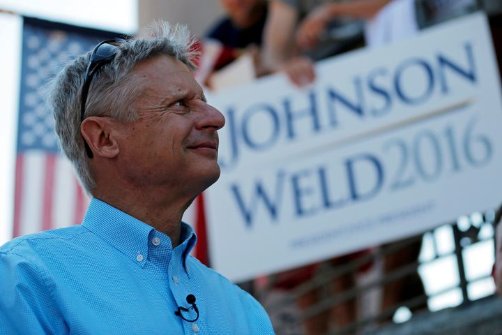 Libertarian presidential candidate Gary Johnson at a campaign rally in Boston on Aug. 27. He underestimates his name recognit