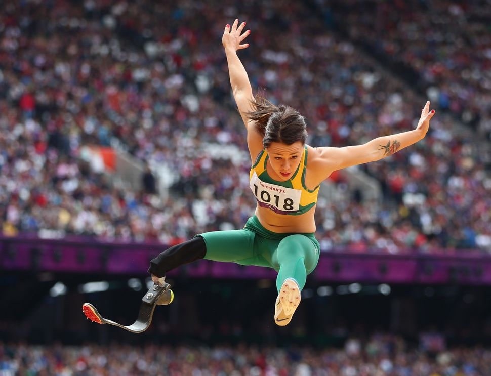 Kelly Cartwright of Australia competes in the women's long jump at the 2012 Paralympic Games.