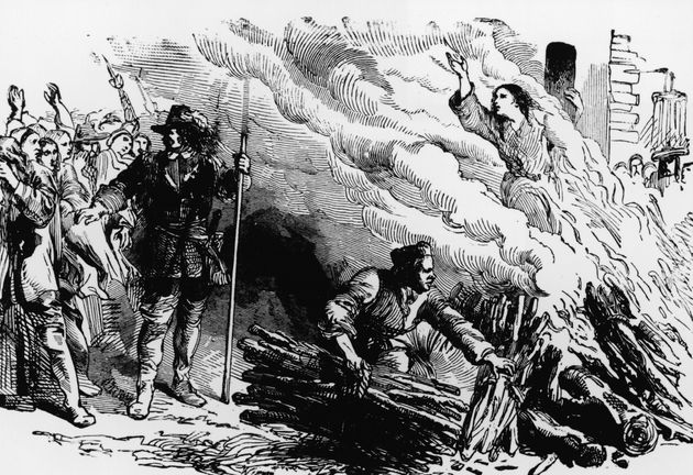 An illustration depicts a woman being burned at the stake for the crime of engaging in witchcraft, circa