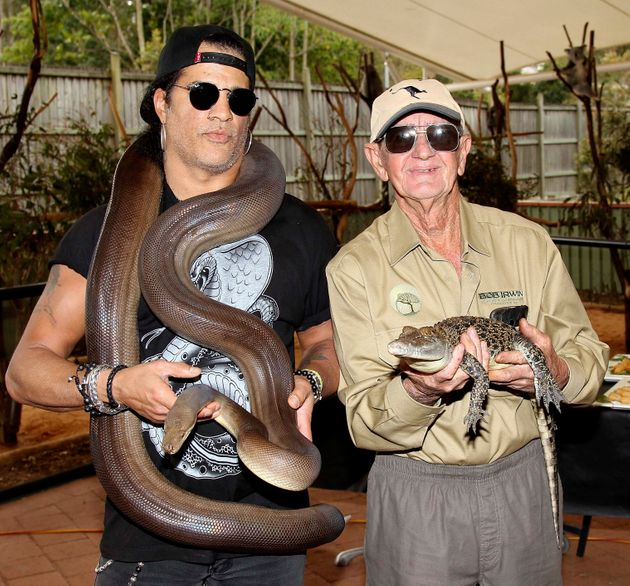 Bob Irwin with Slash, who once paida visit to the