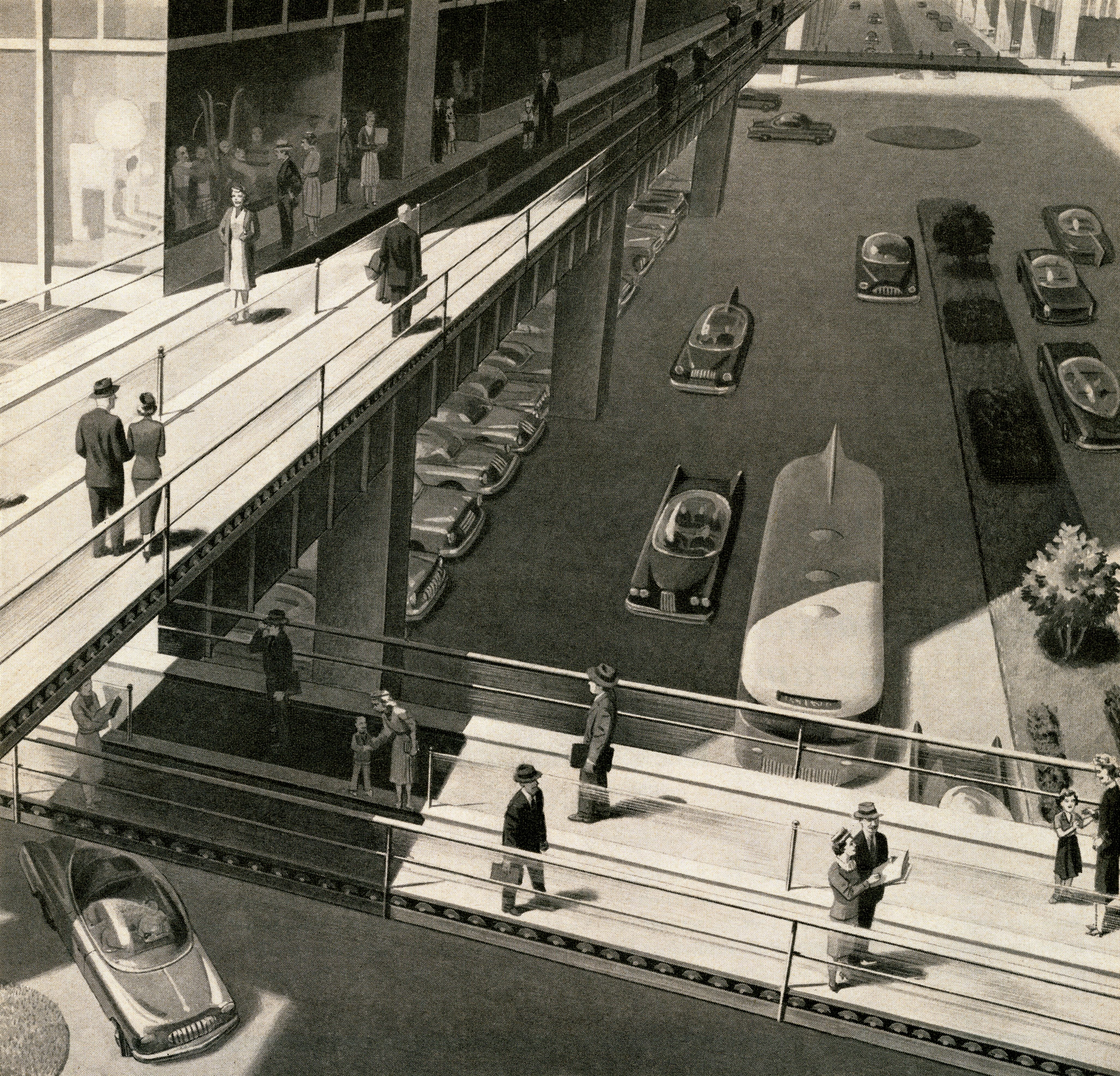 A 1950s screen print shows an unrealized vision of transportation in the future, including automated walkways.