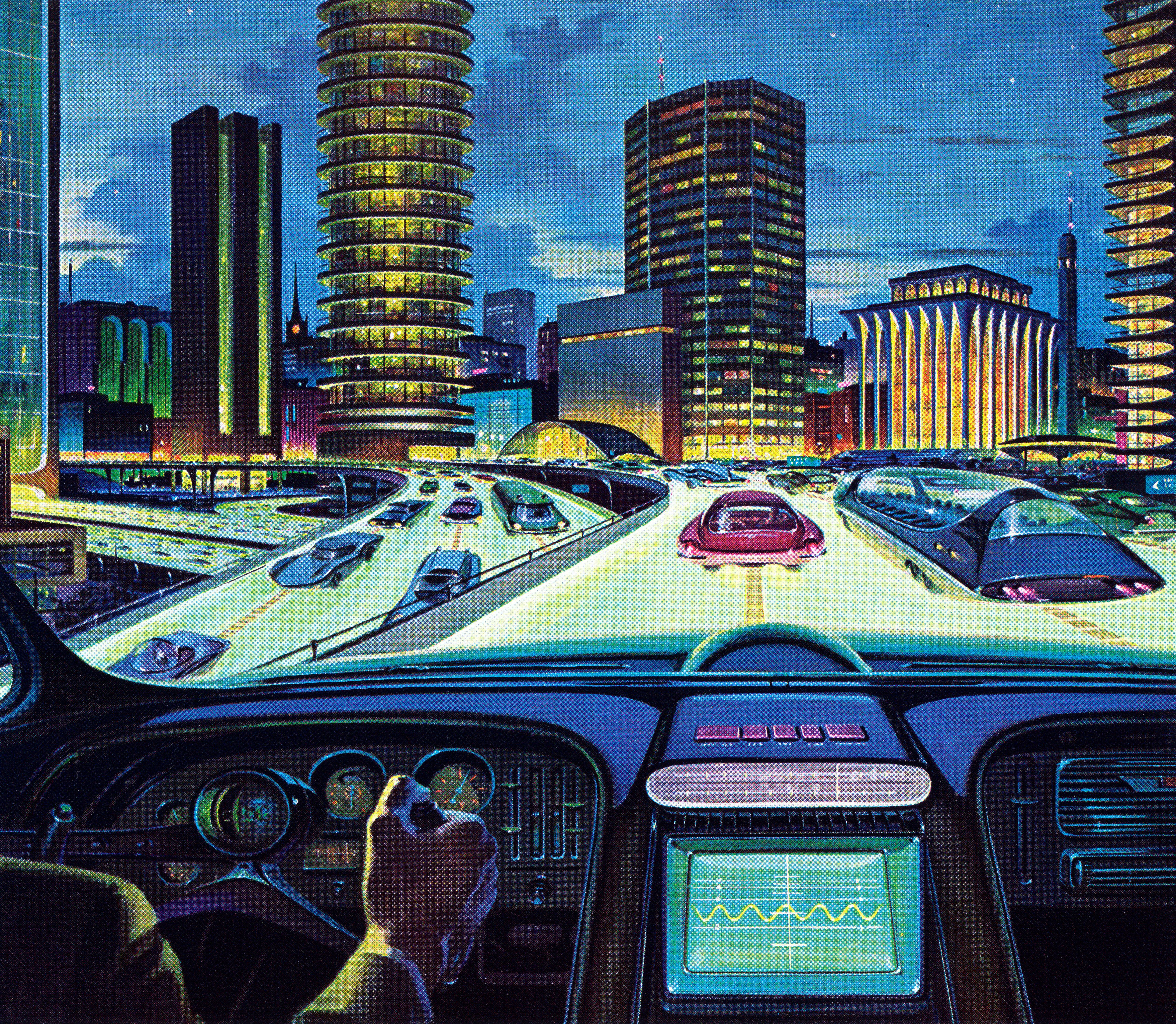 """A 1950s illustration shows an """"electronic car of tomorrow"""" driving on a city highway. The electronic display looks a lot like"""