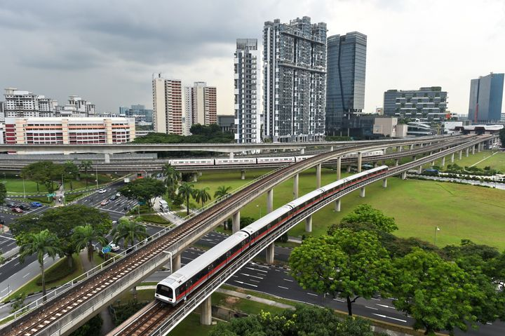 Singapore's Mass Rapid Transit trains are shown on July 18, 2016.