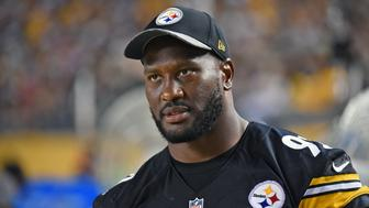 PITTSBURGH, PA - AUGUST 18: Linebacker James Harrison #92 of the Pittsburgh Steelers looks on from the sideline during a National Football League preseason game against the Philadelphia Eagles at Heinz Field on August 18, 2016 in Pittsburgh, Pennsylvania. The Eagles defeated the Steelers 17-0. (Photo by George Gojkovich/Getty Images)