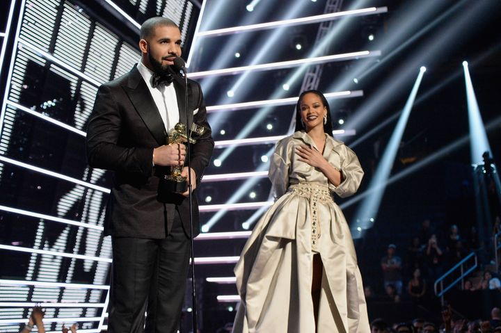 Drake and singer Rihanna onstage during the 2016 MTV Music Video Awards at Madison Square Garden on Aug. 28, 2016 in New York