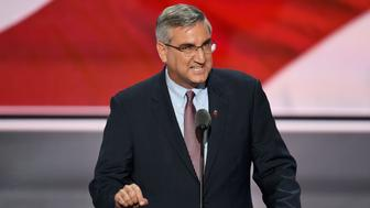 Indiana Lieutenant Governor Eric Holcomb speaks on the second day of the Republican National Convention at the Quicken Loans Arena in Cleveland on July 19, 2016. / AFP / JIM WATSON        (Photo credit should read JIM WATSON/AFP/Getty Images)