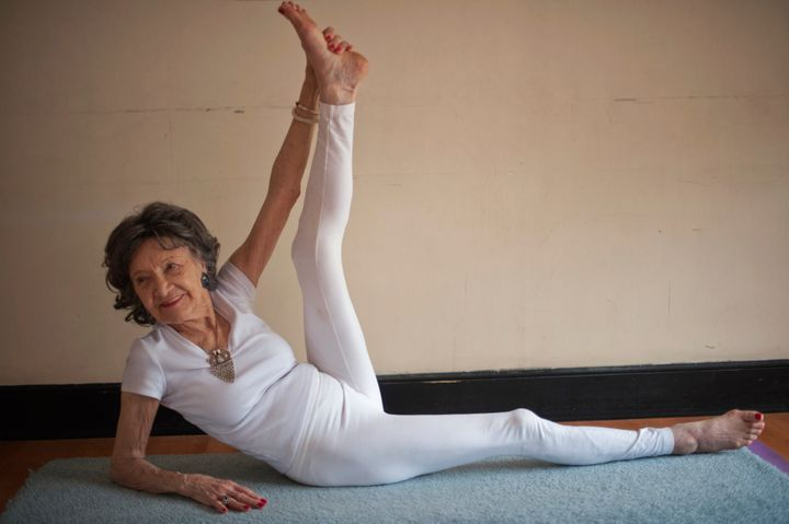 Yoga instructor Tao Porchon-Lynch goes through her poses.