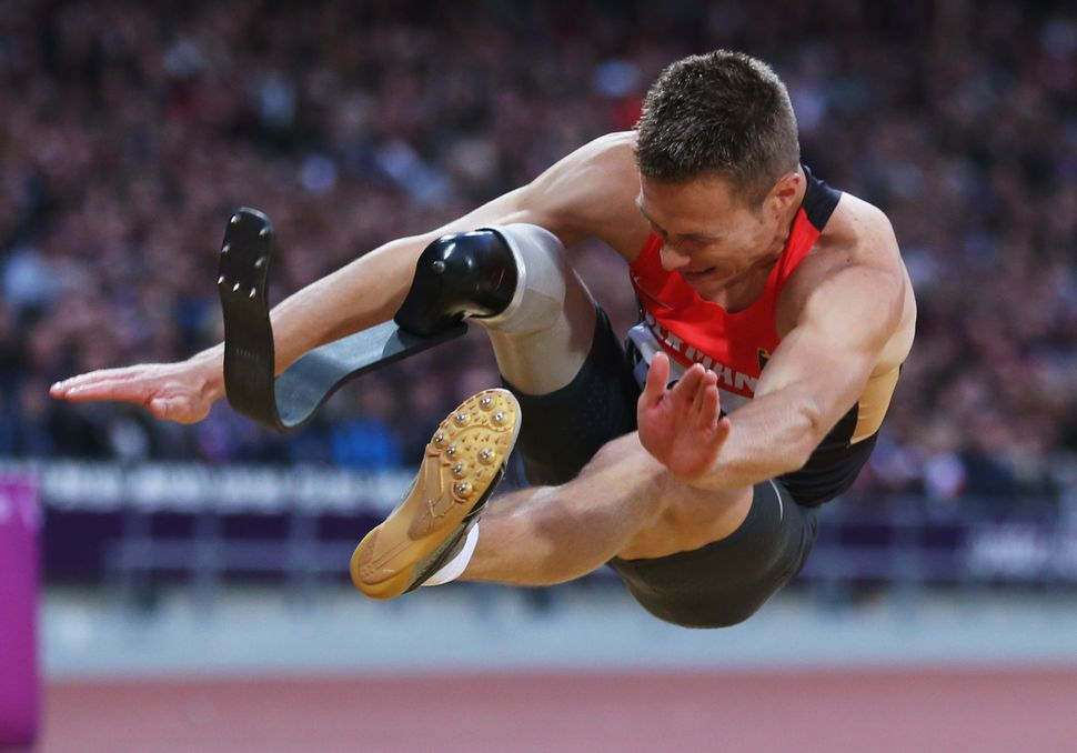 Germany's Markus Rehm competes in the men's long jump at the London 2012 Paralympic Games.