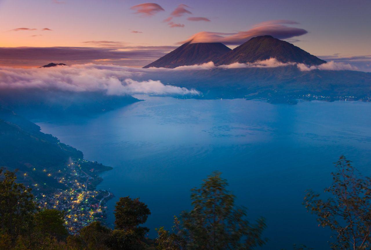 A view of Lake Atitlán at sunrise.