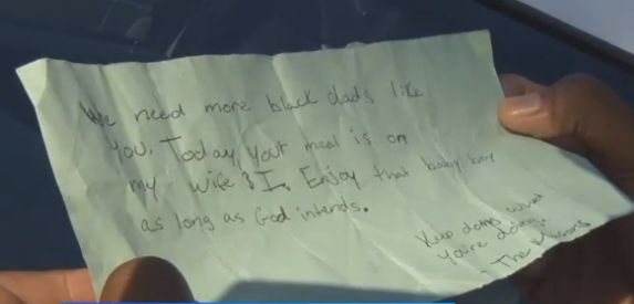 Kind strangers left Smith a note and money for his meal.