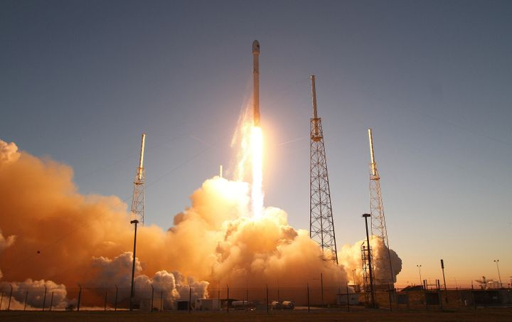 A SpaceX Falcon 9 rocket blasts off the launch pad, Feb. 11, 2015.