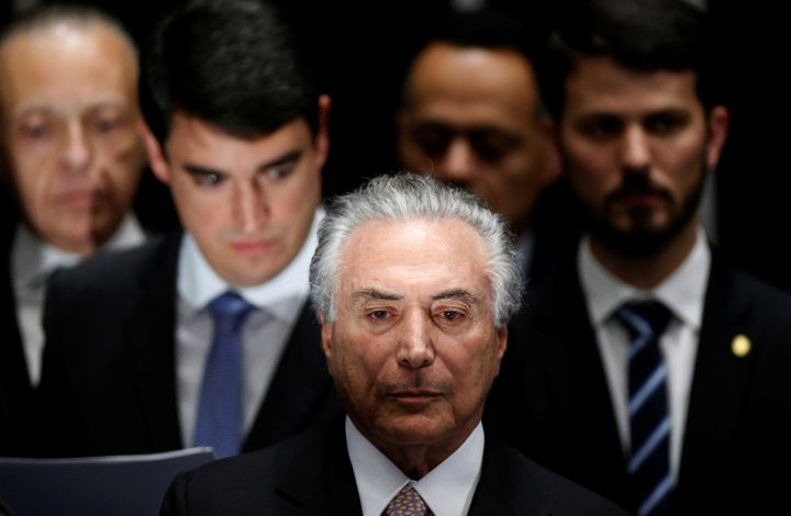 Brazil's new President Michel Temer attends the presidential inauguration ceremony after Brazil's Senate removed President Di