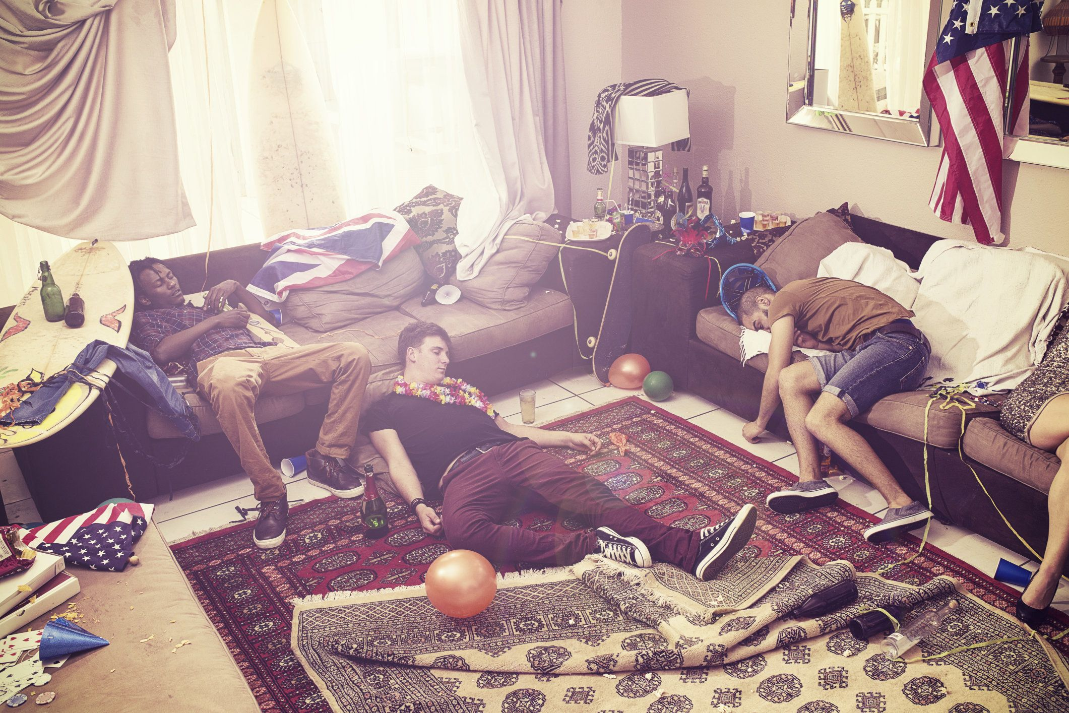 Three guys passed out after a party
