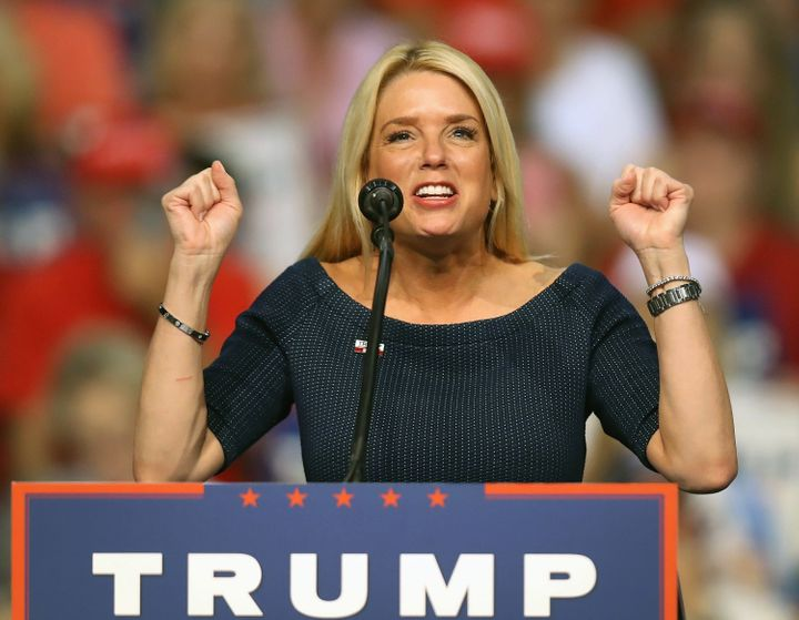Florida Attorney General Pam Bondi speaks before the arrival of Donald Trump at a campaign event in Daytona, Florida, Aug. 3,